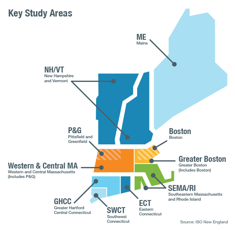 New England Key Study Areas Map